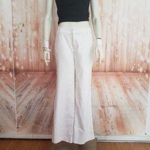 REBECCA TAYLOR CRISP WHITE LINEN PANTS WIDE LEG  4